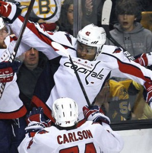 Joel Ward score the winning goal in overtime to defeat the Boston Bruins