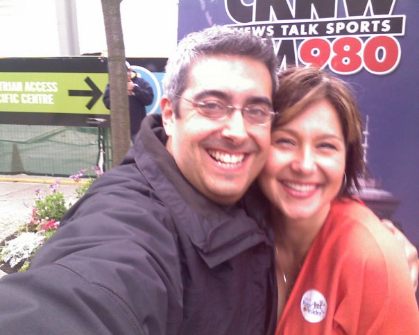 Dave with CKNW host Christy Clark at the 2008 Raise a Reader event.